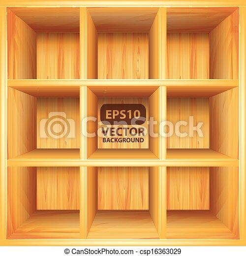 Wooden Bookshelf Vector Background
