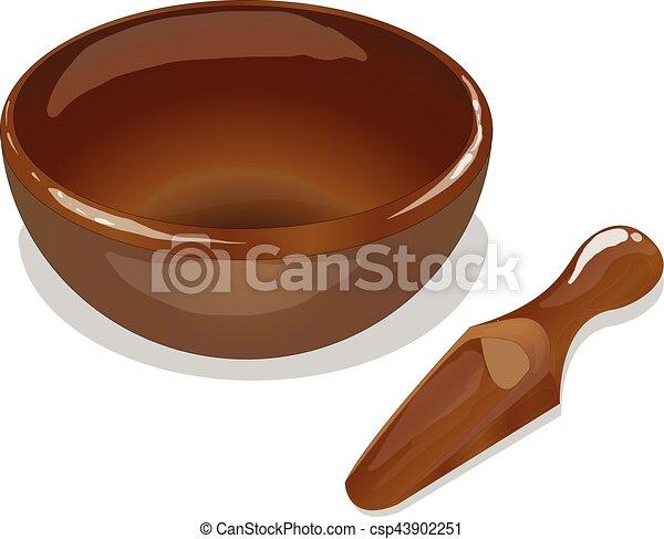 wooden bowl and scoop vector - csp43902251