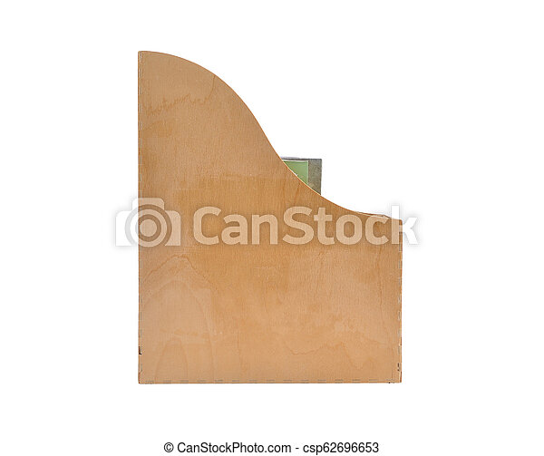 Wooden box for documents on white background - csp62696653