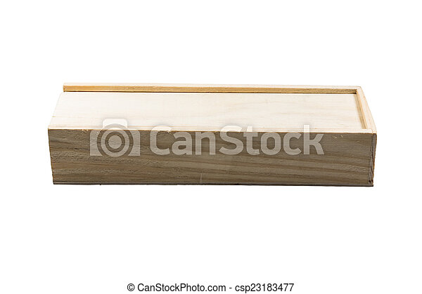Wooden box for wine on white background - csp23183477
