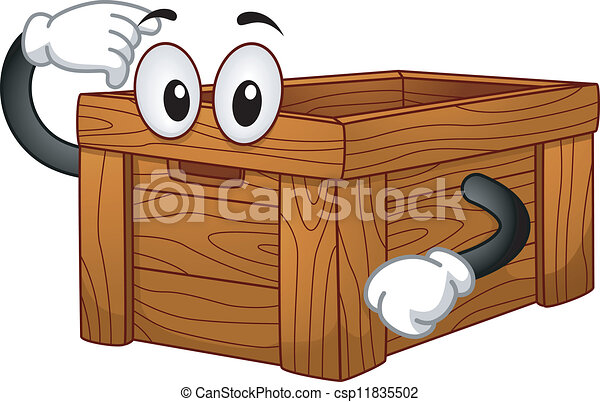 wooden box clipart. vector wooden box mascot clipart r