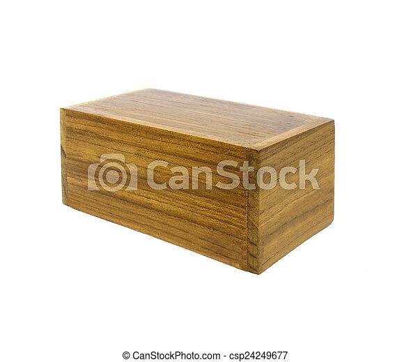 Wooden box on white background - csp24249677