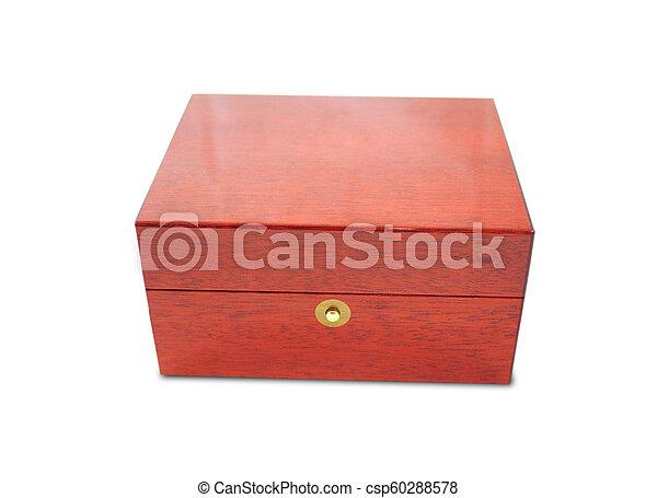 Wooden box on white background - csp60288578