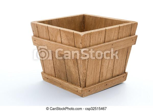 wooden box on white background - csp32515467