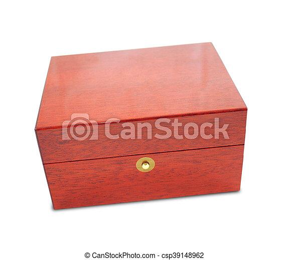 Wooden box on white background - csp39148962