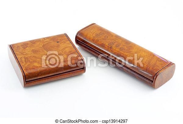 wooden box on white background - csp13914297