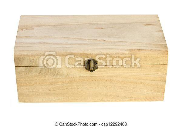 wooden box on white background - csp12292403
