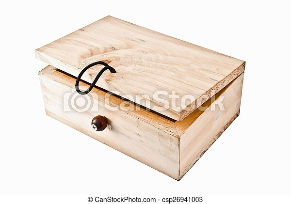 Wooden box on white background - csp26941003