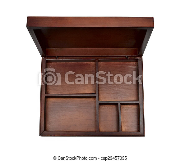 Wooden box on white background - csp23457035