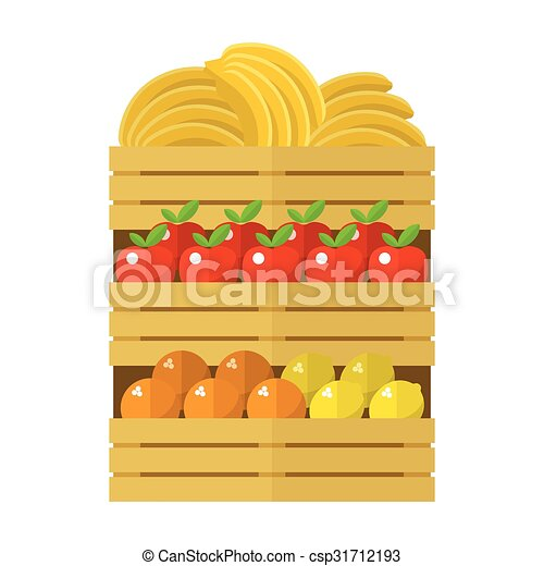 Wooden box with fruits - csp31712193