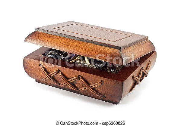 wooden box with jewelry on white background - csp6360826
