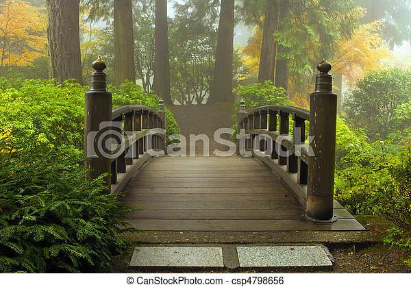 Wooden Bridge at Japanese Garden in Fall - csp4798656
