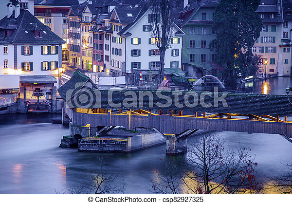 Wooden bridge in Lucerne - csp82927325