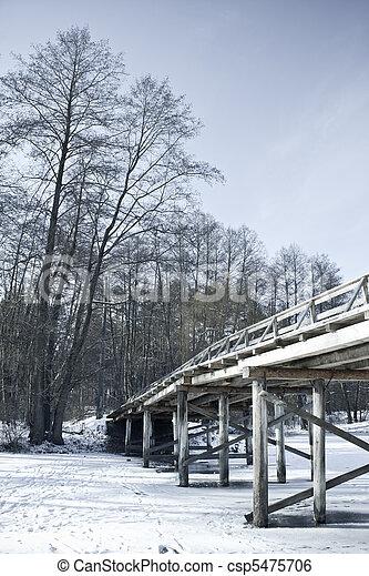 wooden bridge in winter - csp5475706