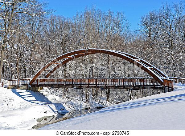 wooden bridge in winter - csp12730745