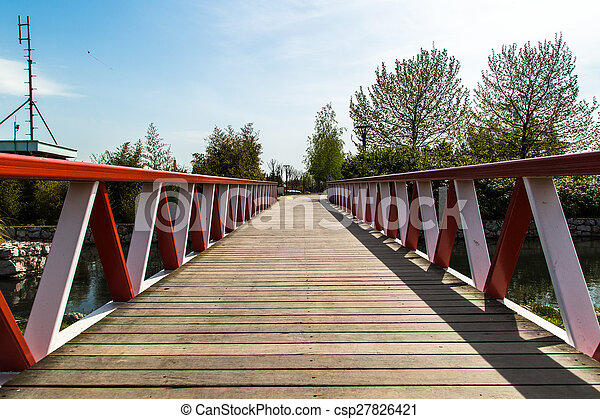 Wooden Bridge on River - csp27826421