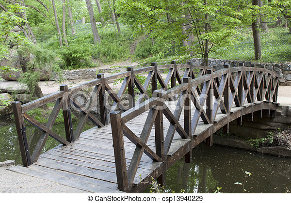 Wooden Bridge Over A Small River In Sophia Park In Uman Stock Illustration