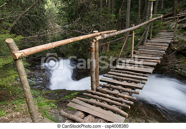 Wooden bridge over the river in Rhodope Mountain, Bulgaria - csp4008380