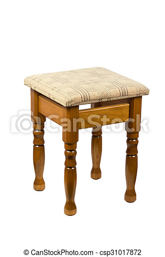 Wooden brown stool isolated on white - csp31017872