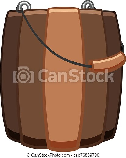 Wooden bucket for bathhouse with a handle on white backgound - csp76889730