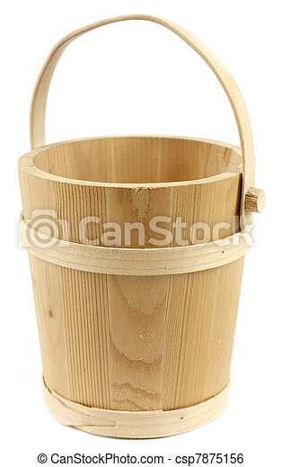 Wooden bucket isolated on white background - csp7875156