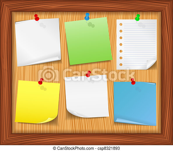 wooden bulletin board with paper notes vector eps10 vectors rh canstockphoto com bulletin board clipart black and white bulletin board design clipart