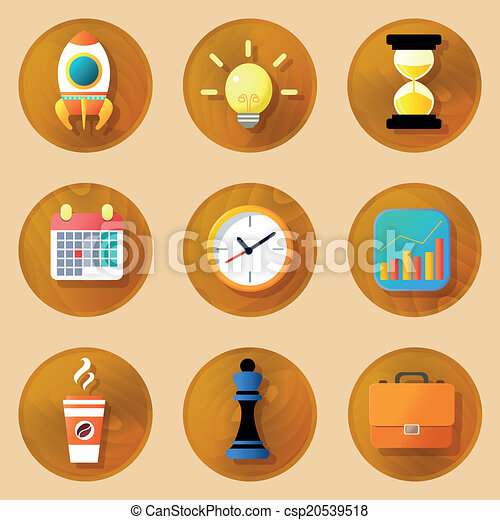 Wooden business icons set - csp20539518