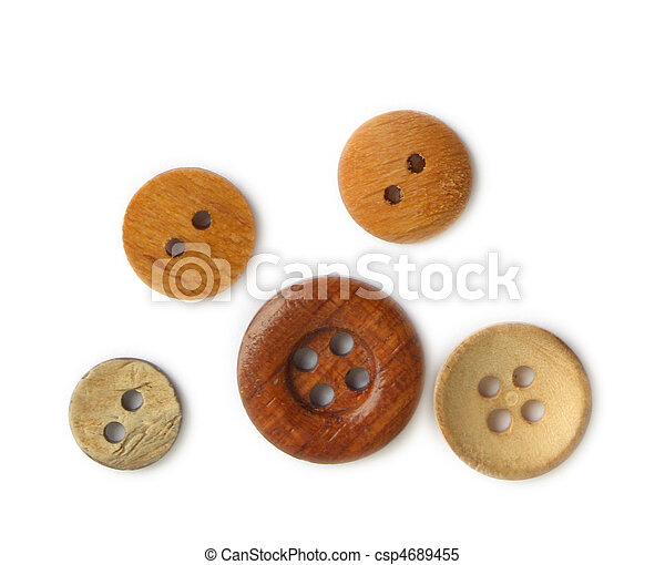 Wooden buttons on white background - csp4689455