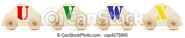 Wooden Car Alphabet Toys U V W X - csp4275905
