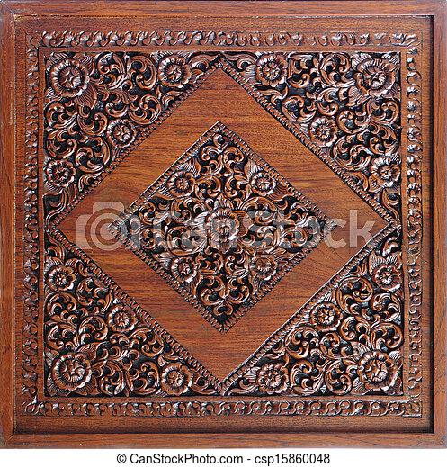 Wooden carved flower - csp15860048
