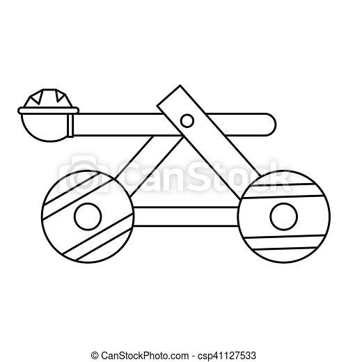 Wooden catapult icon, outline style. Icon in outline style... drawings - Search Clipart ...