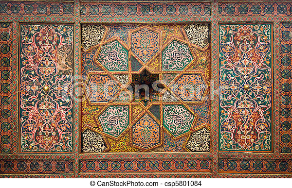 Wooden ceiling, oriental ornaments from Khiva, Uzbekistan - csp5801084