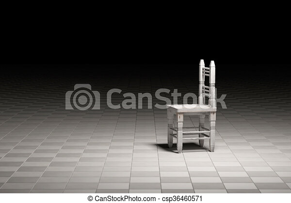 Wooden Chair Abandoned In Empty Room