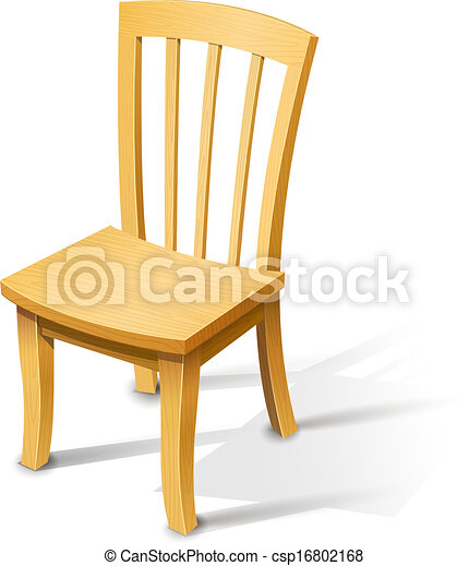 Wooden Chair Vector Illustration Isolated On White Clip Art