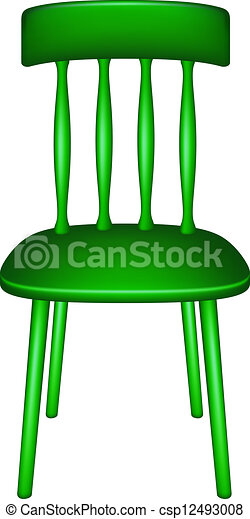 wooden chair in green design on white background