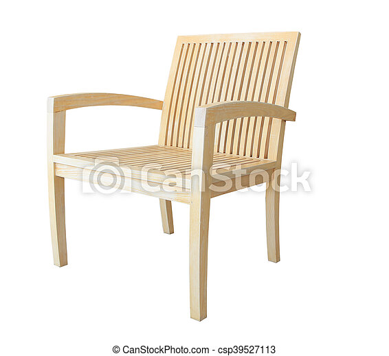 Wooden chair isolated on white background - csp39527113