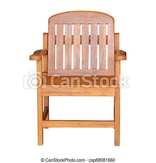 Wooden chair isolated on white background - csp68081660