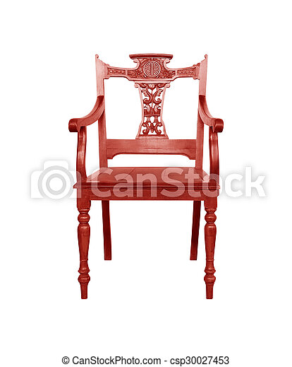 wooden chair isolated on white background. - csp30027453