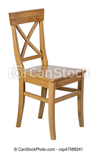Wooden chair isolated on white background - csp47088241