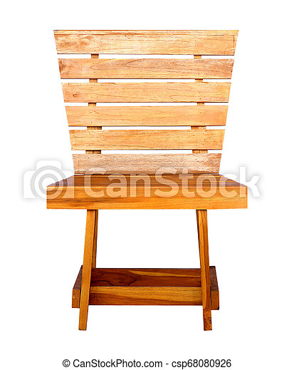 wooden chair isolated on white background - csp68080926