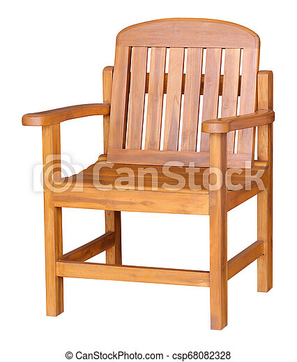wooden chair isolated on white background - csp68082328