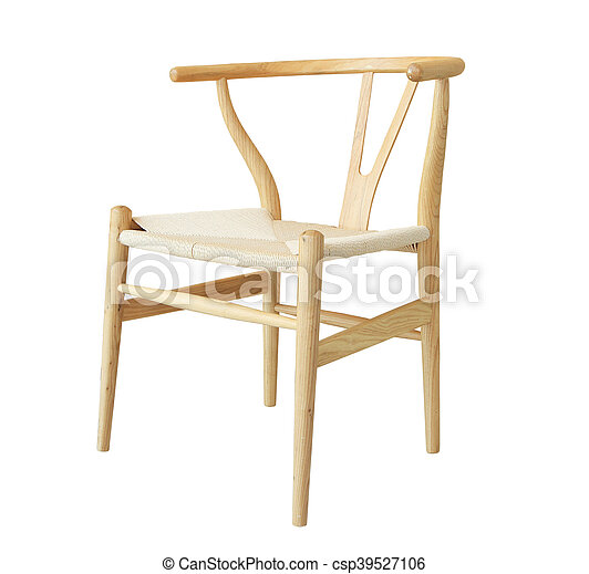 Wooden chair isolated on white background - csp39527106