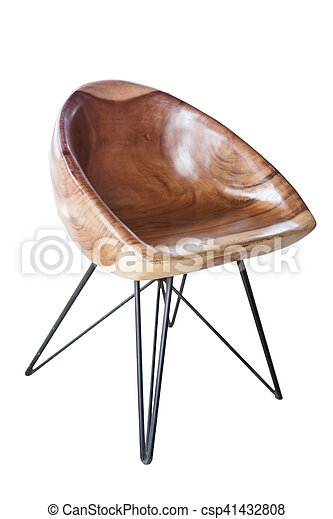 Wooden chair isolated on white background - csp41432808