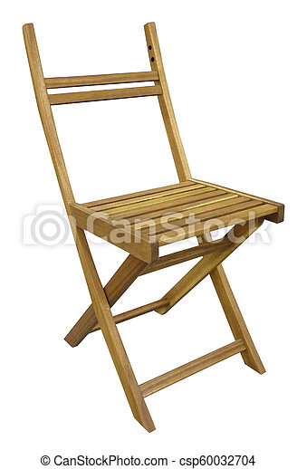 wooden chair isolated on white background - csp60032704