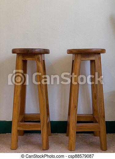 Wooden chair on white background - csp88579087