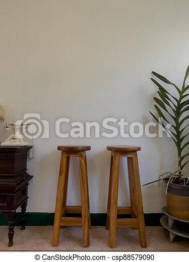 Wooden chair on white background - csp88579090