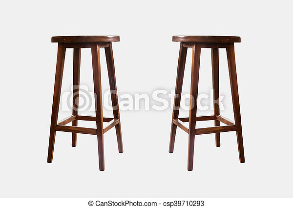 Wooden chairs isolated on white background - csp39710293