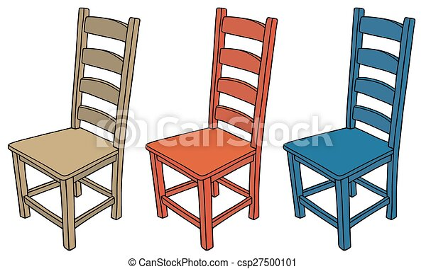 Wooden Chairs Hand Drawing Of Three Color Vector