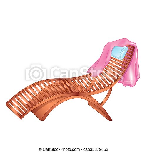 Wooden Chaise Lounge Vector Illustration Of Wooden Chaise Lounge