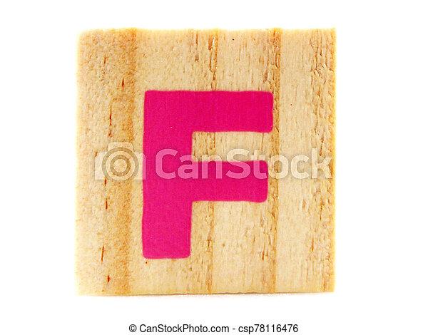 Wooden Children's Toy Alphabet Blocks On White Background - csp78116476